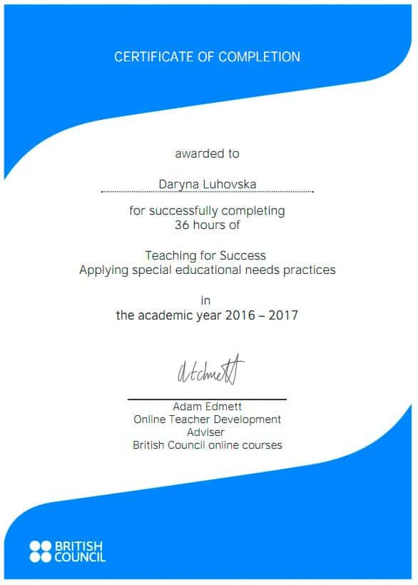 Teaching for Success training British Council Certificate