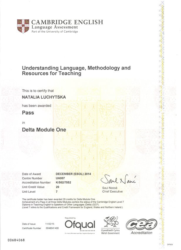 Diploma in Teaching English to Speakers of Other Languages (DELTA) Certificate Module 1