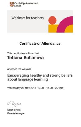 beliefs about language learning kubanova certificate
