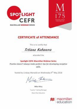 spotlight cefr kubanova certificate