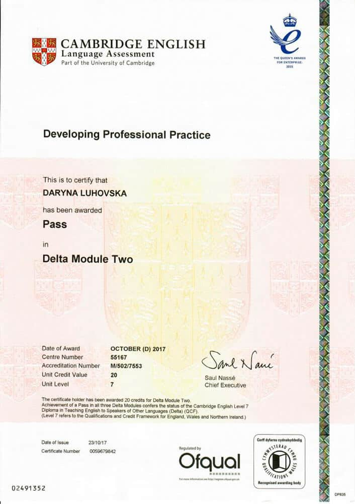 Diploma in Teaching English to Speakers of Other Languages (DELTA) Module 2