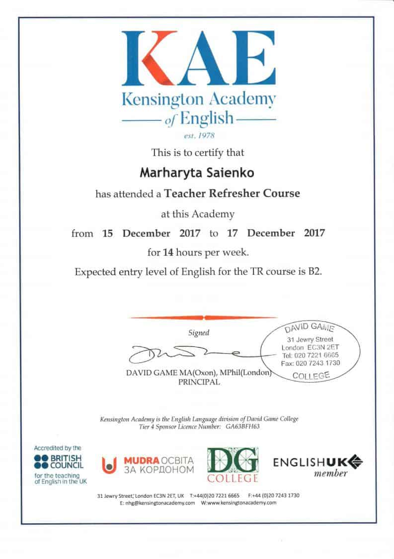 Kensington Academy of English Teacher Refresher Course