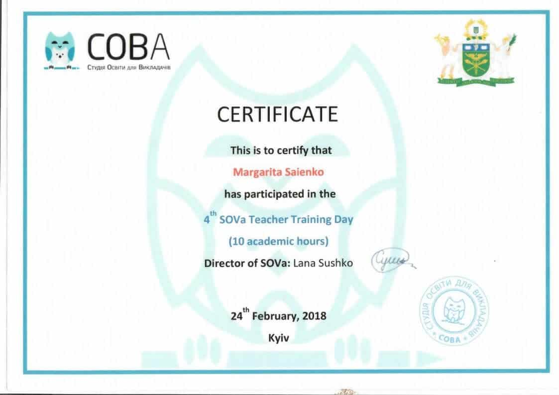 SOVa Teacher Training Day Certificate