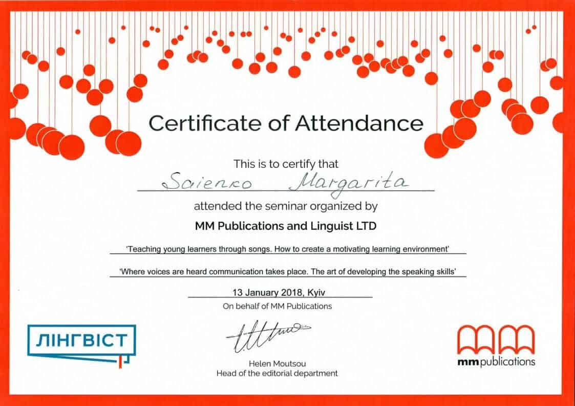 MM Publications and Linguist LTD Certificate of Attendance