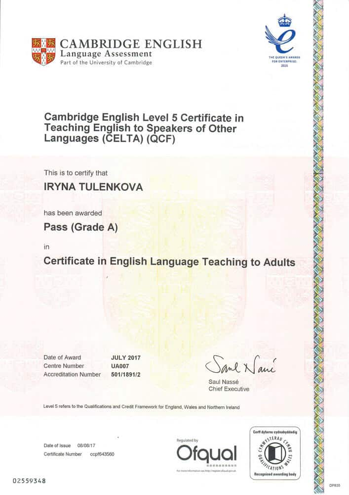 Certificate in English Language Teaching to Adults (CELTA)