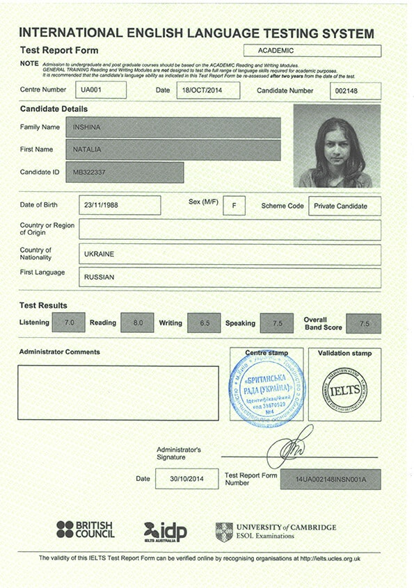 International Language Testing System (IELTS) Certificate