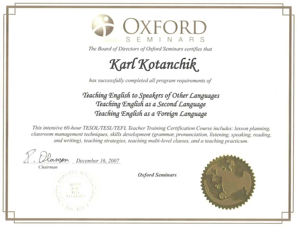 Oxford Seminars Certificate