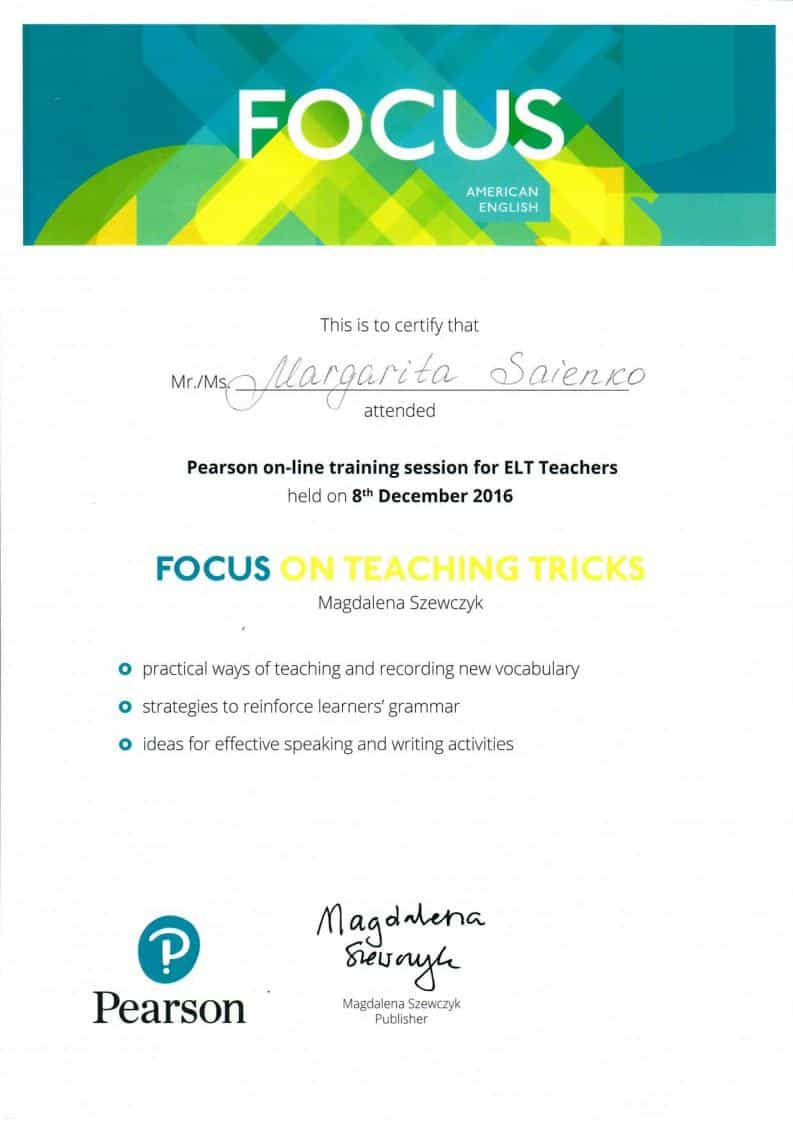 Pearson online training for ELT teachers Certificate