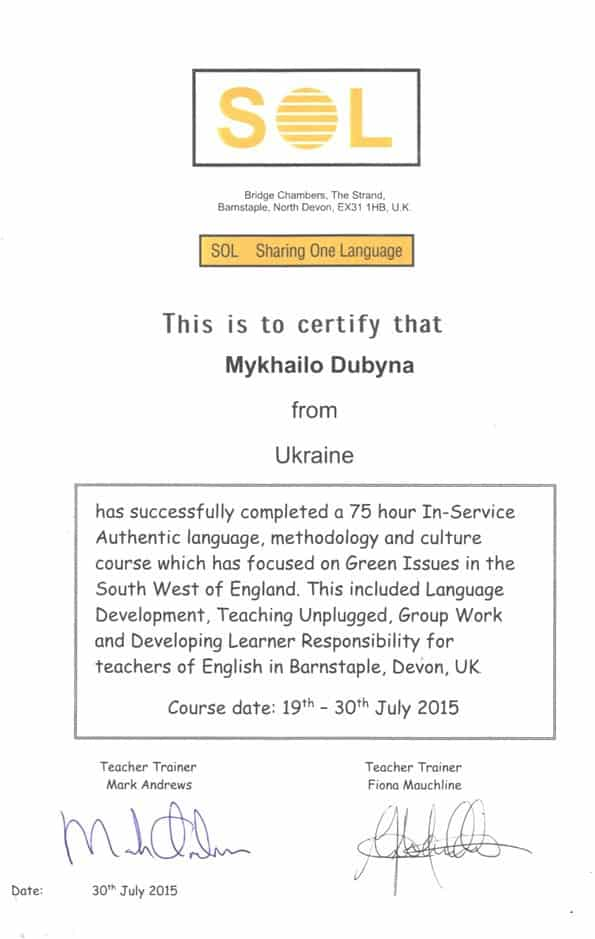 Sharing One Language Certificate