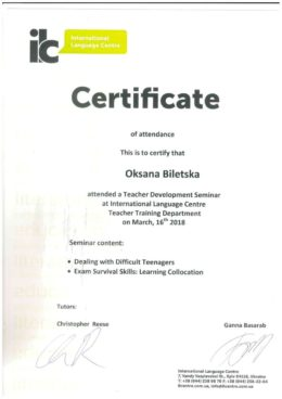 International Language Centre Certificate