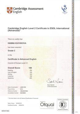 CAE Kuchkova certificate
