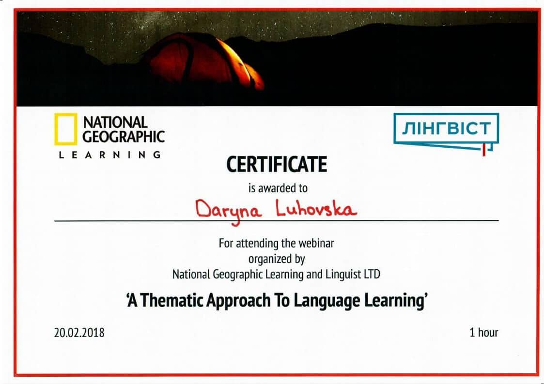 National Geografic Learning Certificate