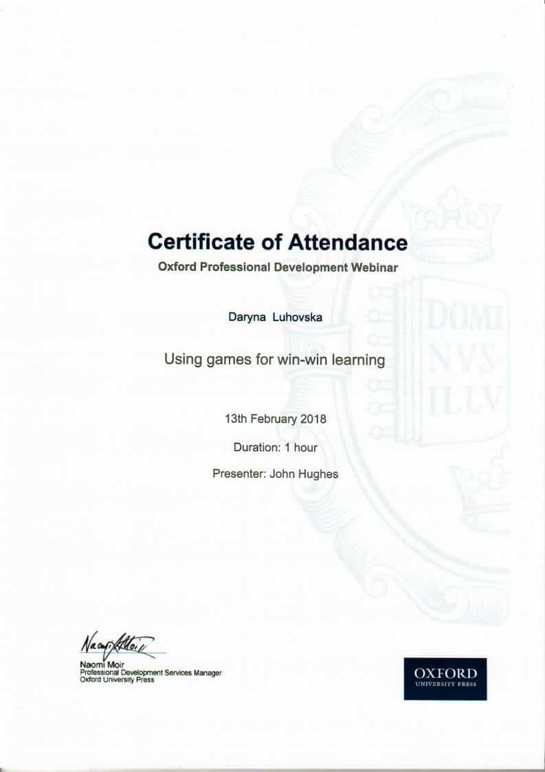 John Hughes Oxford Professional Development Certificate