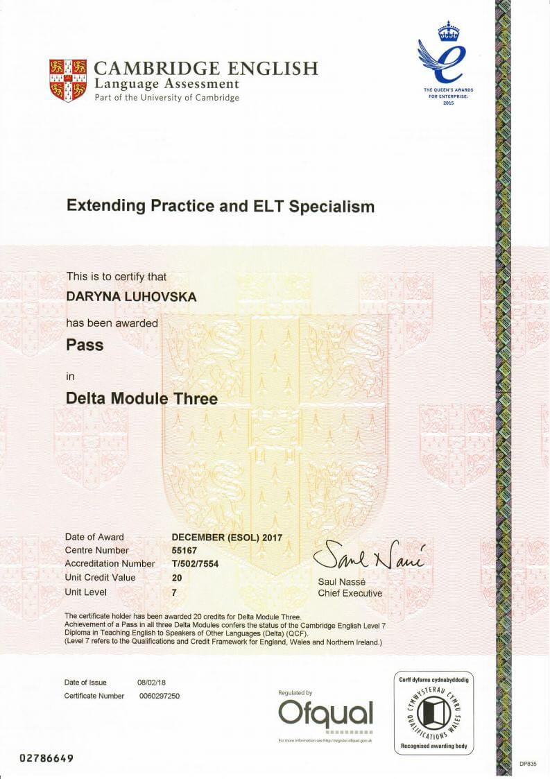 Diploma in Teaching English to Speakers of Other Languages (DELTA) Module 3