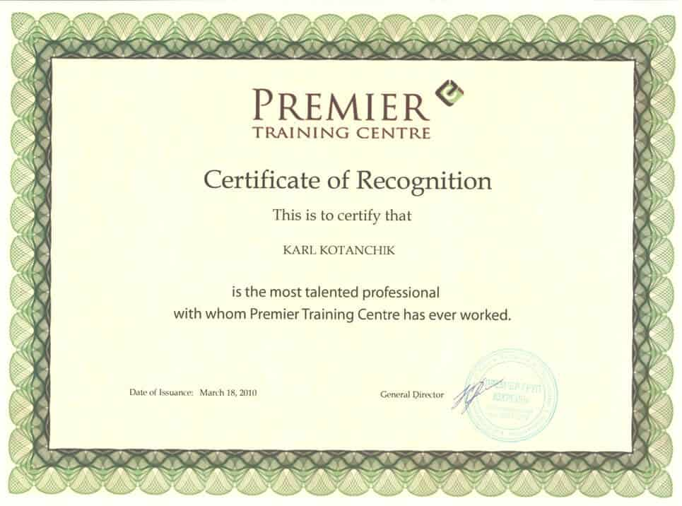 Premier Training Centre Certificate