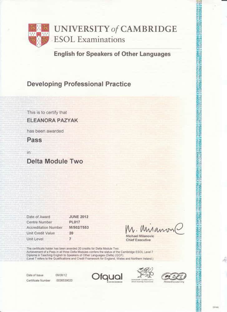Diploma in Teaching English to Speakers of Other Languages (DELTA) Certificate Module 2