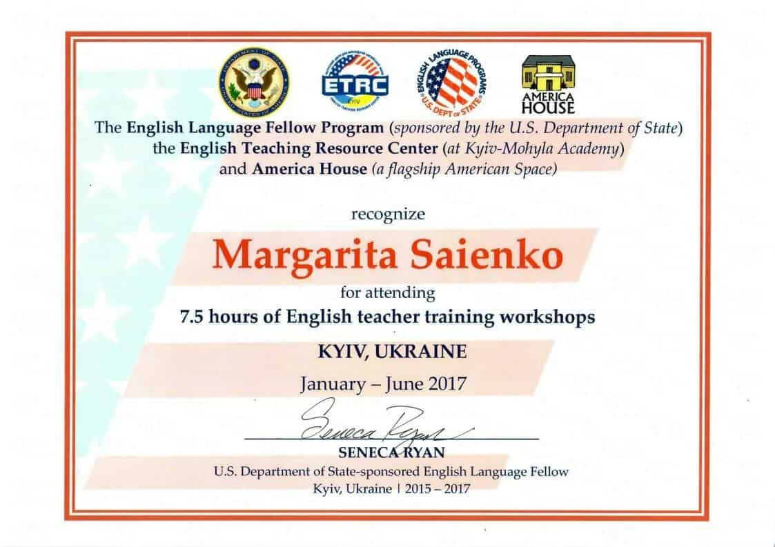 English Language Fellow Program Certificate