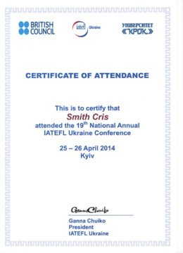 Certificate of Training Event Attendance