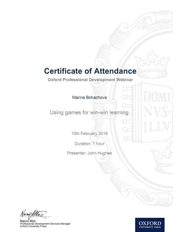 Oxford Professional Development Webinar Certificate
