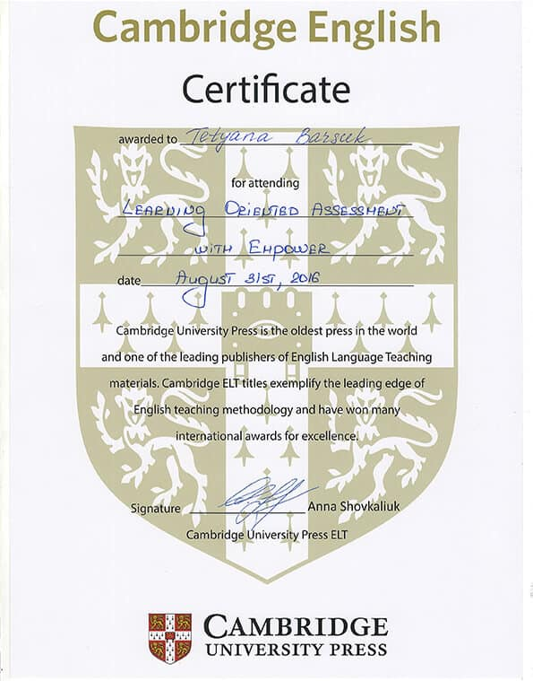 Cambridge University Press Certificate
