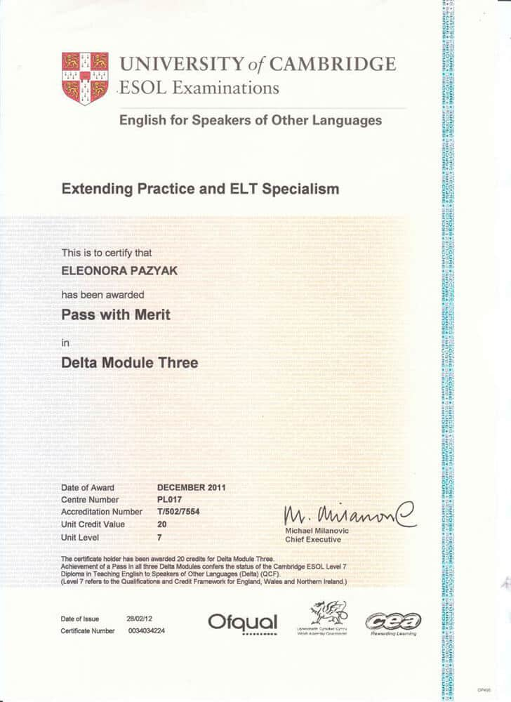 Diploma in Teaching English to Speakers of Other Languages (DELTA) Certificate Module 3
