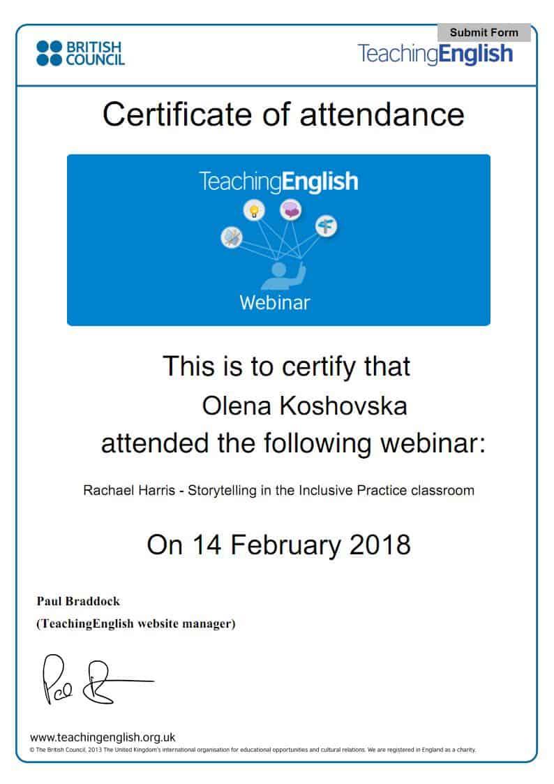 Certificate of Attendance Webinar