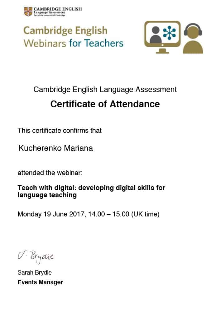 Cambridge English Webinars for Teachers Certificate