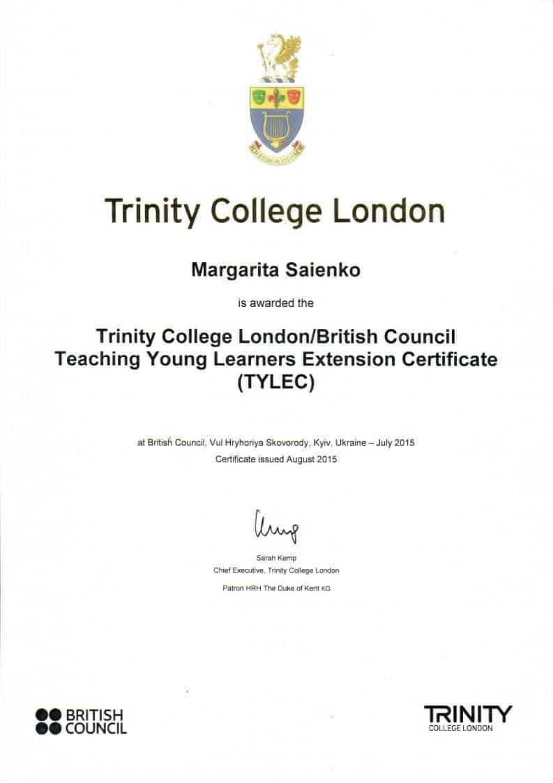 Trinity College London/Teaching Young Learners Extension Certificate (TYLEC)