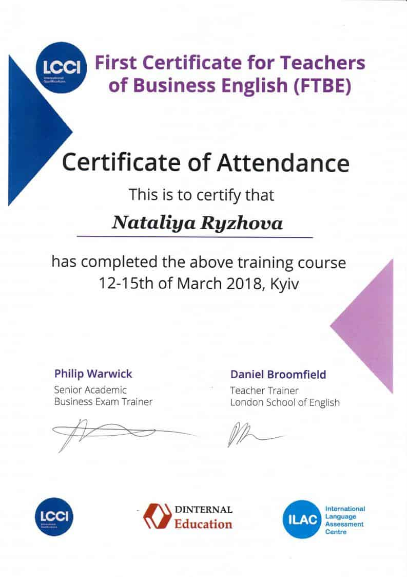 First Certificate for Teachers of Business English (FTBE)