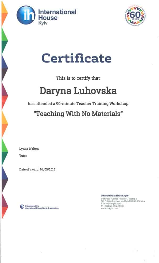 International House Teacher Training Workshop Certificate