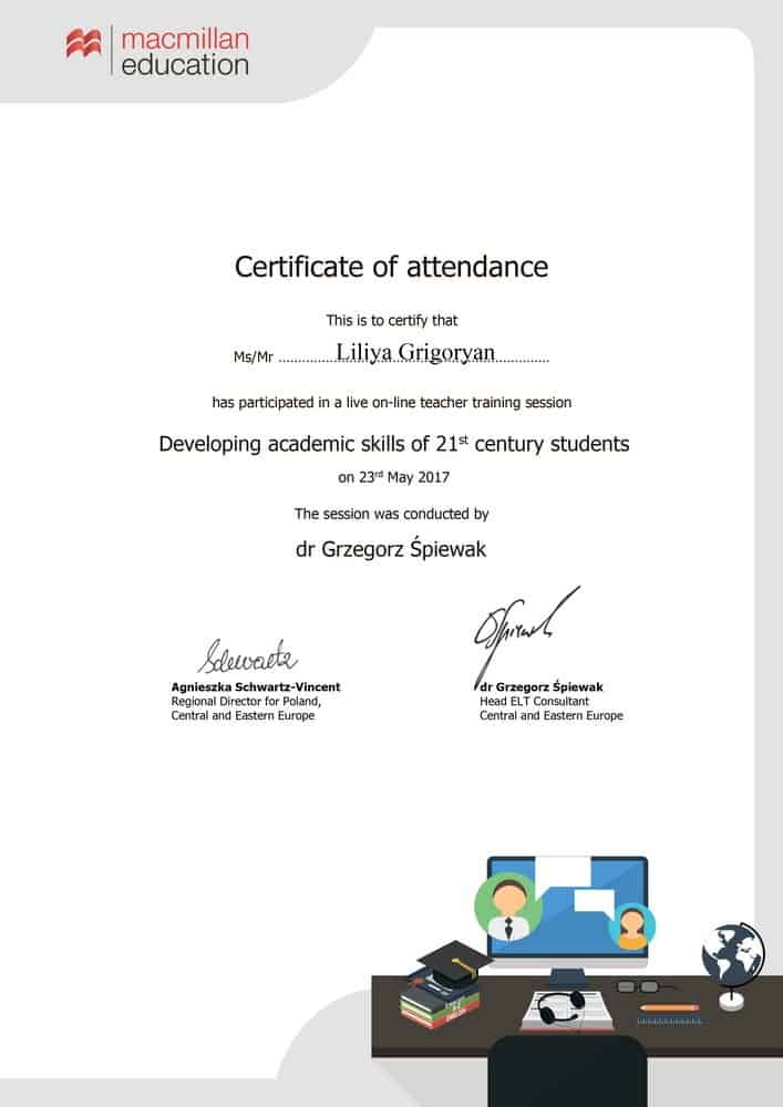 Macmillan Education Webinar Certificate
