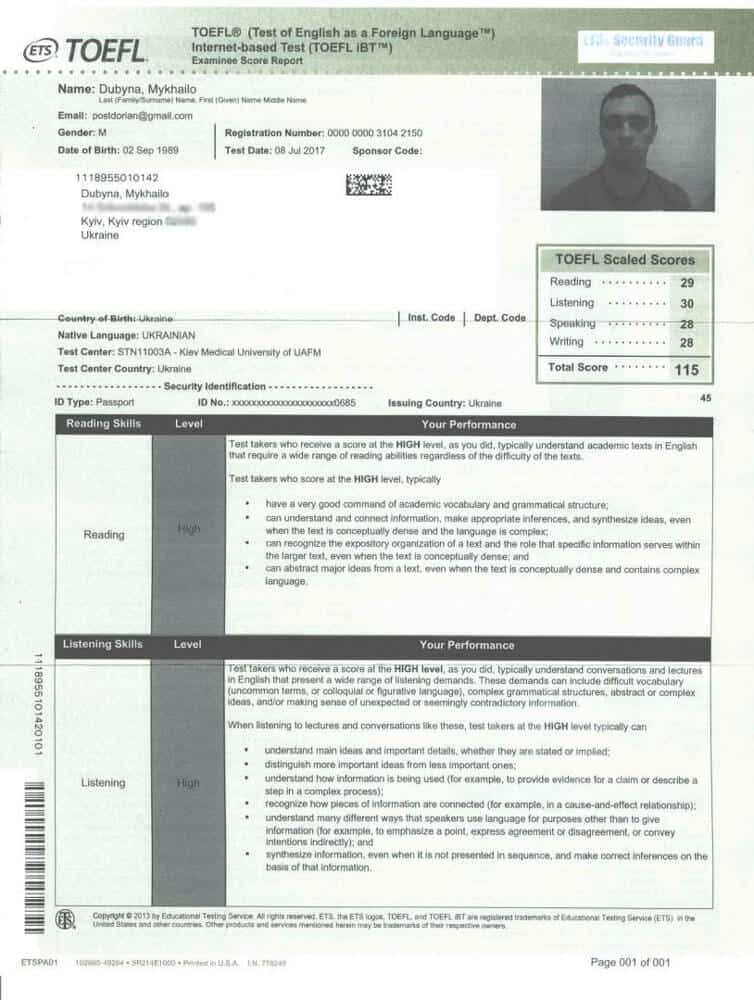 Test of English as a Foreign Language (TOEFL) Certificate