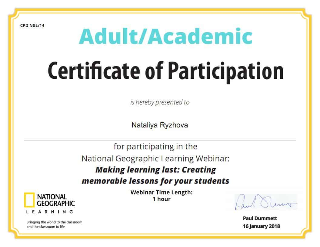 National Geographic Learning Webinar Certificate