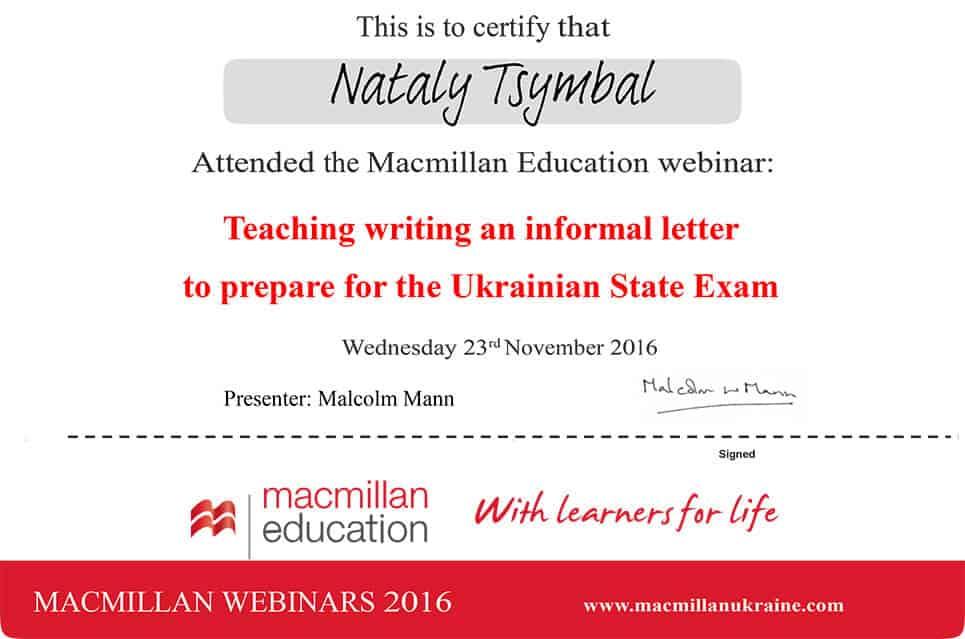 Macmillan Webinar Certificate
