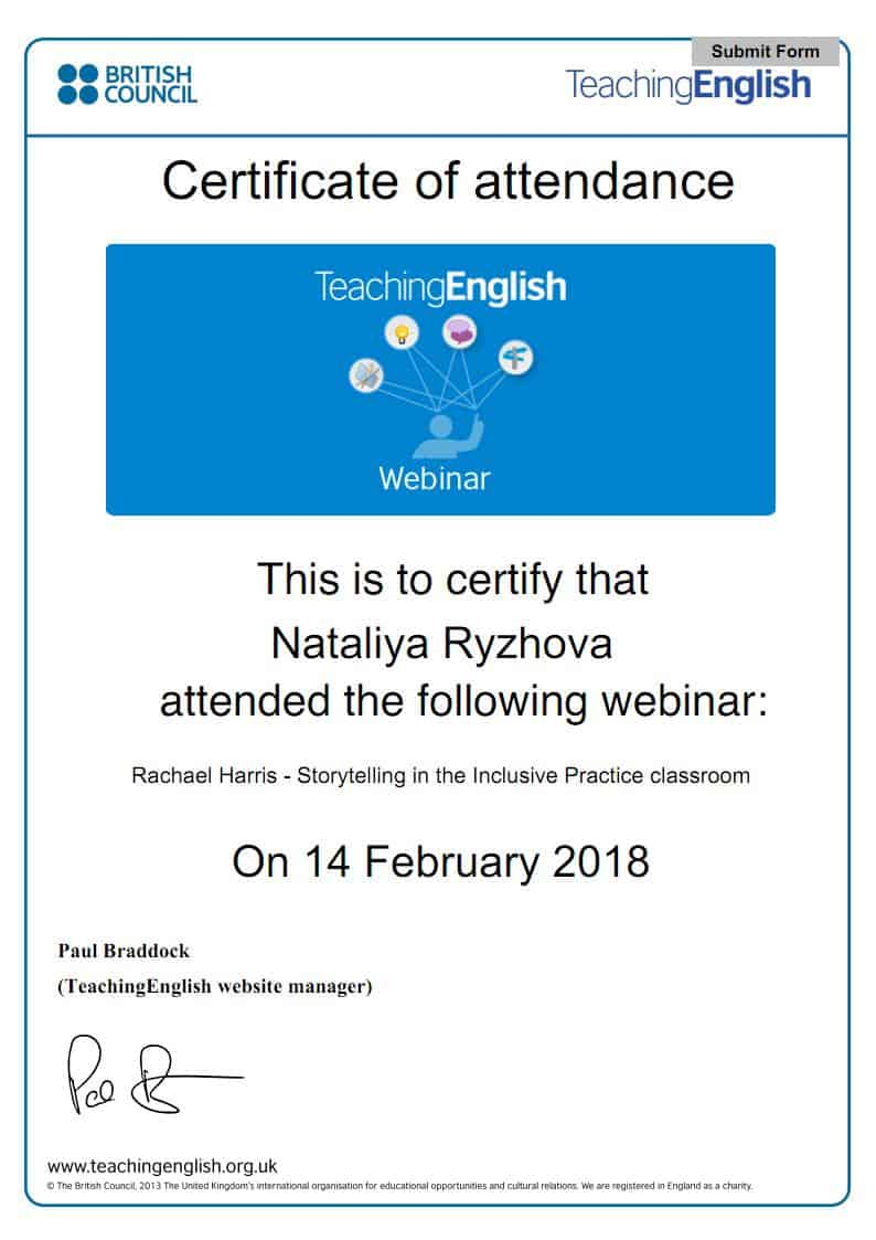 British Council Teaching English Webinar Certificate