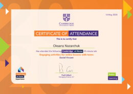 CHE Certificate 14 May 2020 Engaging activities for online lessons with teens Daniel Vincent-1