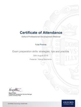 Oxford Professional Development Webinar Certificate