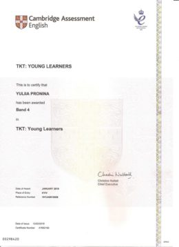 pronina tkt young learners band 4