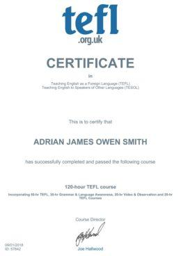 adrian smith tefl tesol certificate