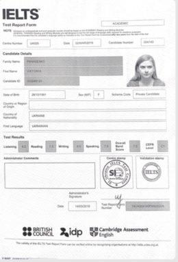 panasenko ielts certificate