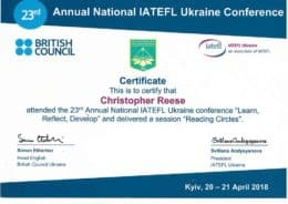 23rd iatefl ukraine reese