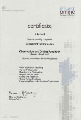 Hall observaton and giving feedback