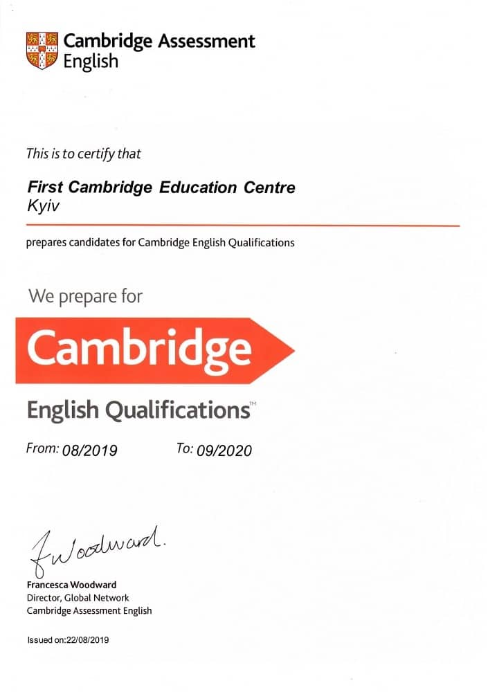 First Cambridge Education Centre official preparation 2019