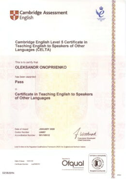 Oleksandr Onopriienko CELTA-1