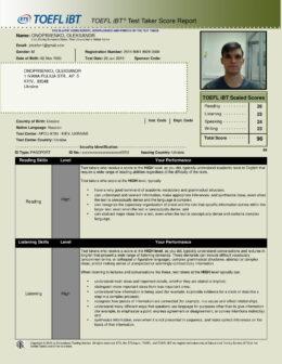 Oleksandr Onopriienko TOEFL iBT test report-1