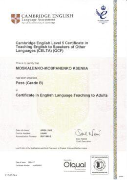 CELTA Certificate Moskalenko