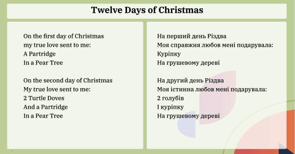 12 days of christmas 1-2 ua